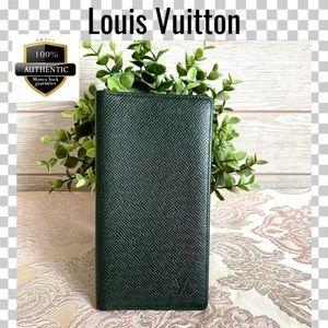 Louis Vuitton check wallet taiga epicea green
